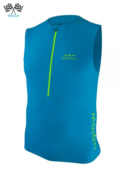 Camiseta trailrunning con cremallera de hombre sin mangas Uglow Race, Azul/Amarillo TT1