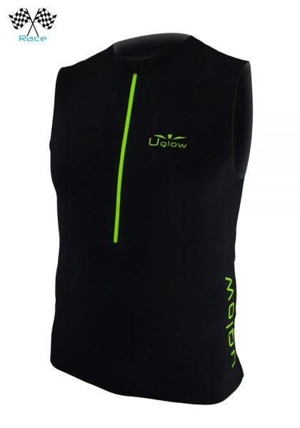 Camiseta running con cremallera para hombre sin mangas Uglow Race Negro/Amarillo TT2