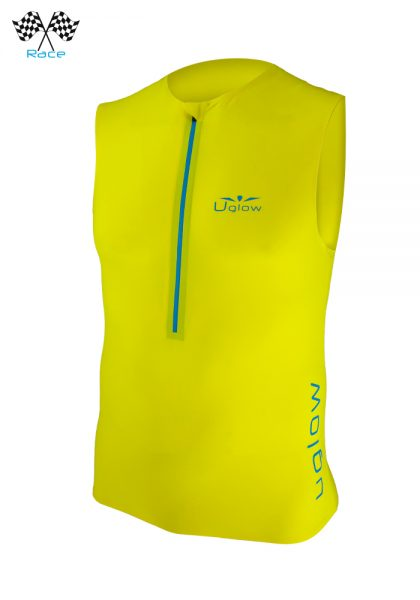 Camiseta con cremallera trail running para hombre sin mangas Uglow Race Amarilla/Azul TT3