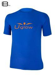 Camiseta Uglow Base manga corta hombre, Azul/ Naranja TS15
