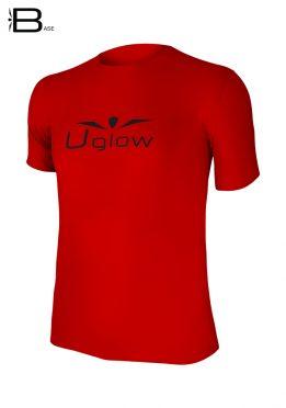 Camiseta running Uglow base de manga corta para hombre, rojo/negro TS5