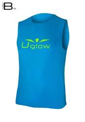Camiseta running sin mangas para hombre, Uglow Base azul celeste, WTT1