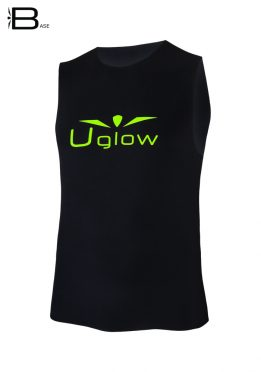 Camiseta running sin mangas para hombre, Uglow Base, negro WTT2