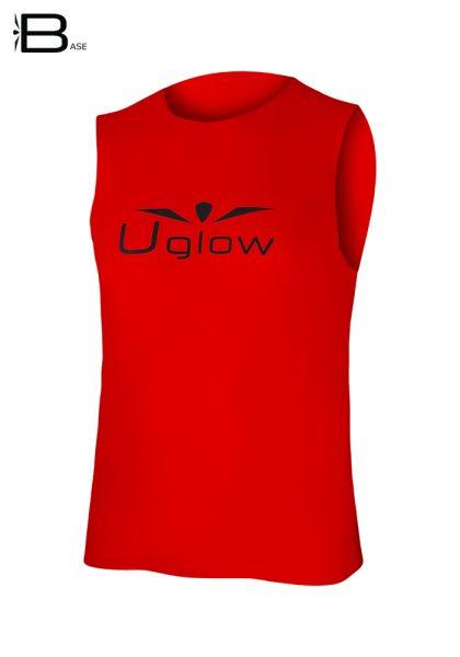 Camiseta running sin mangas para hombre Uglow Base, Rojo/Negro WTT3