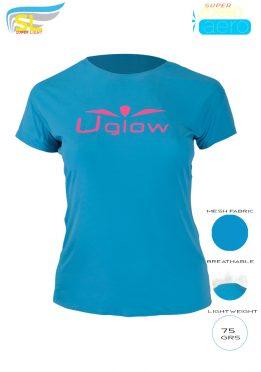 Camiseta trail running mujer, 75 gramos, UglowSuper Speed Aero, Azul/Rosa TS1