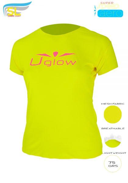 Camiseta running ligera 75 gramos para mujer, UglowSuper Speed Aero TS3 Amarillo/Rosa