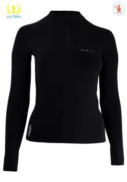 Camiseta Térmica con menbrana de Mujer Uglow con cremallera 12ZIPM3 Negro/Plata