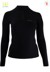 Camiseta Térmica de Mujer Uglow con cremallera 12ZIPM4 Negro/Oro