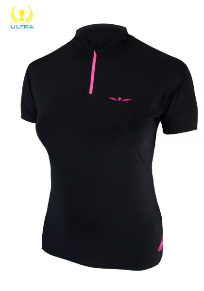 Camiseta manga corta trail running técnica con cremallera para mujer, Uglow, Zip2 Negro/Rosa