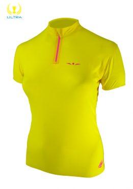 Camiseta trail running técnica mujer con cremallera, manga corta, Uglow, amarilla