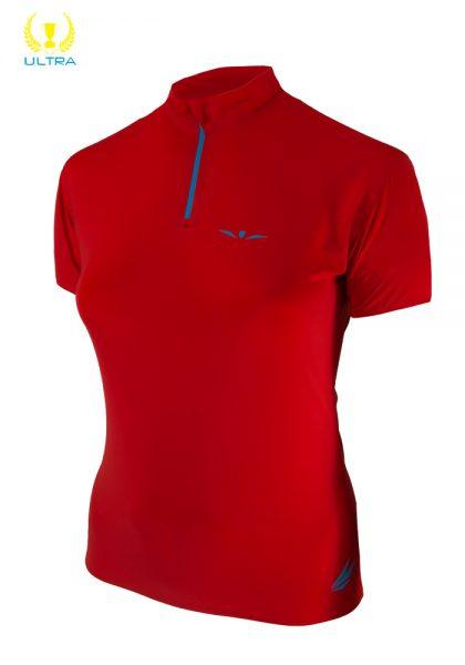 Camiseta trail running técnica mujer con cremallera de manga corta, Uglow Zip4 Rojo/Azul