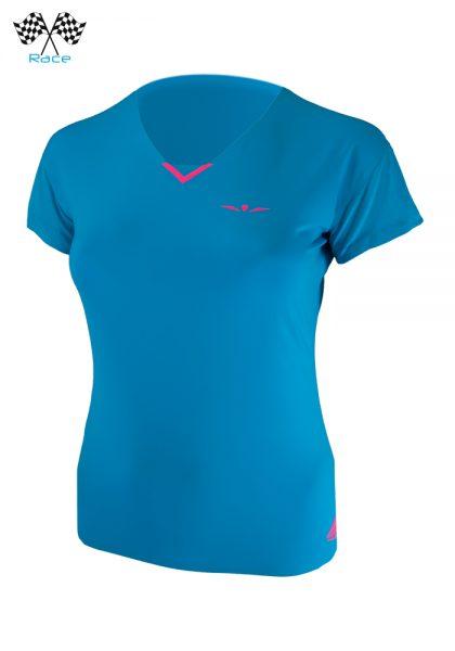 Camiseta técnica para correr de manga corta con cuello de pico para mujer, Uglow VN1 Azul/Rosa