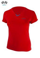 Camiseta mujer cuello de pico trail running manga corta, roja Uglow