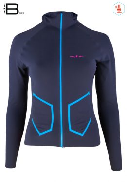 Chaqueta de Running Mujer con Capucha H1 Gris/Azul