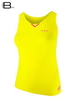 Camiseta running ligera para mujer de tirantes Uglow Base, amarilla/rosa TT3