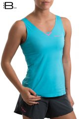 Camiseta running fresquita y ligera para mujer de tirantes, Uglow Base Azul/Rosa TT1