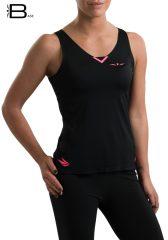 Camiseta running ligera para mujer de tirantes Uglow Base, negra/rosa TT2