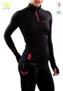 Camiseta Térmica de Mujer con Membrana Uglow Con cremallera 12ZIPM2 Rosa/Negro