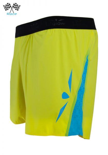Short 5 trail running técnico para hombre amarillo azul