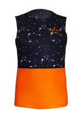 Camiseta running hombre uglow sin mangas Negra/naranja