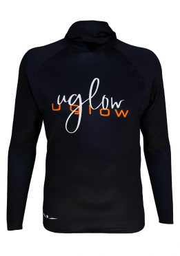 Camiseta térmica de hombre Uglow con capucha Negra/naranja