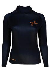 Camiseta térmica de mujer Uglow con capucha Negra/naranja