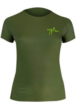 Camiseta para correr, 75 gramos mujer, UglowSuper Speed Aero, Verde/Kaki