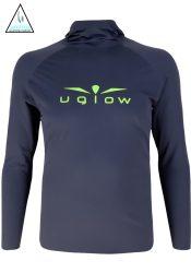 Camiseta térmica de hombre Uglow con capucha Gris/Amarillo AMB 20