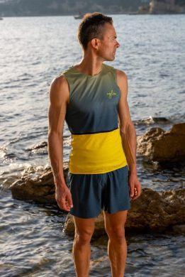 Camiseta running hombre uglow sin mangas Teal